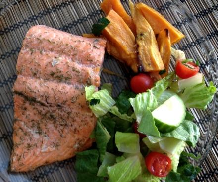 oven roasted salmon with sweet potato