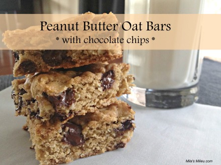 Peanut Butter Oat Bars with chocolate chips